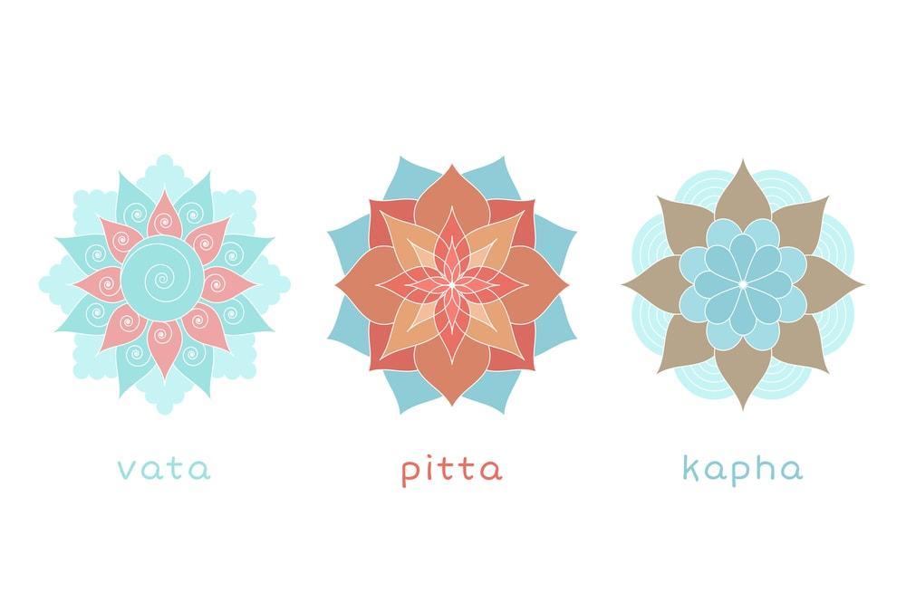 Drei Doshas in einer Darstellung - Vata, Pitta, Kapha